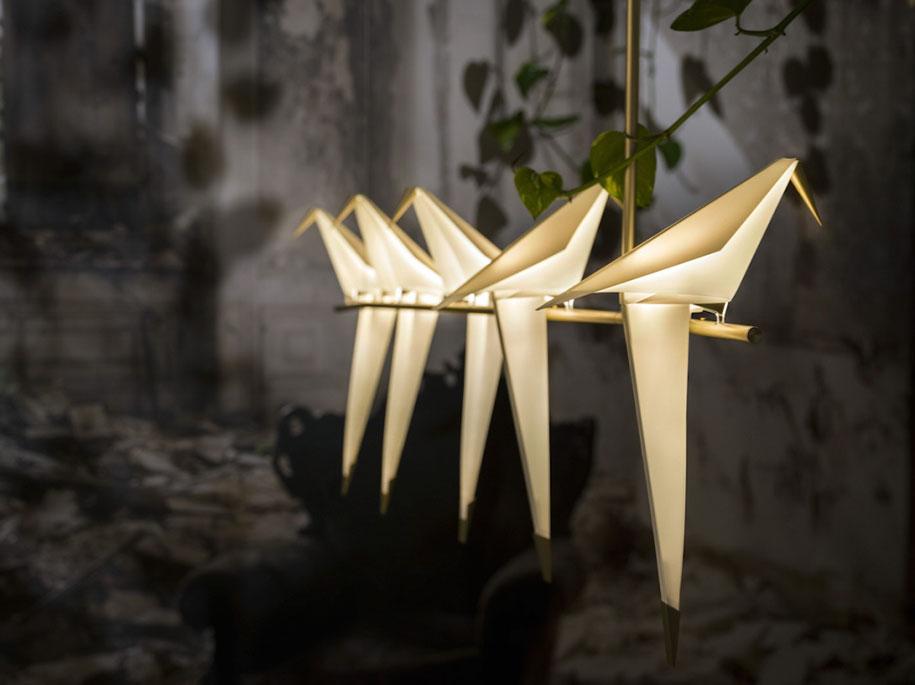折纸+鸟类仿生设计灯具插图